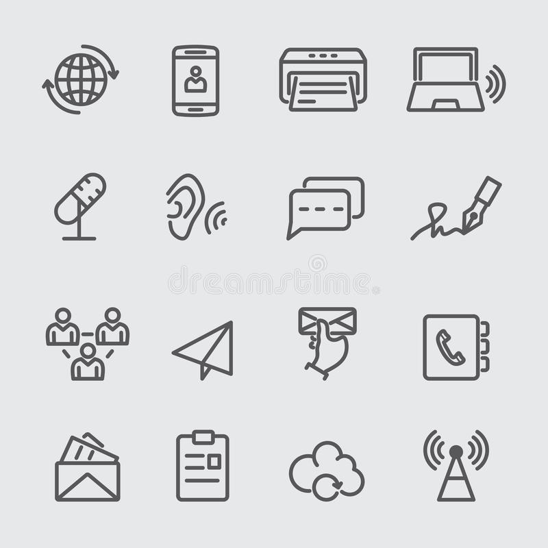 Línea de comunicación icono stock de ilustración