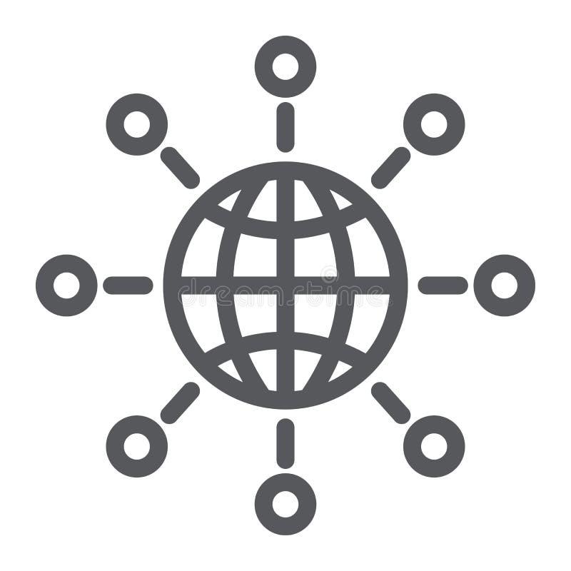 Línea de comunicación internacional icono, mundo y conectar, muestra global de la conexión, gráficos de vector, un modelo lin ilustración del vector