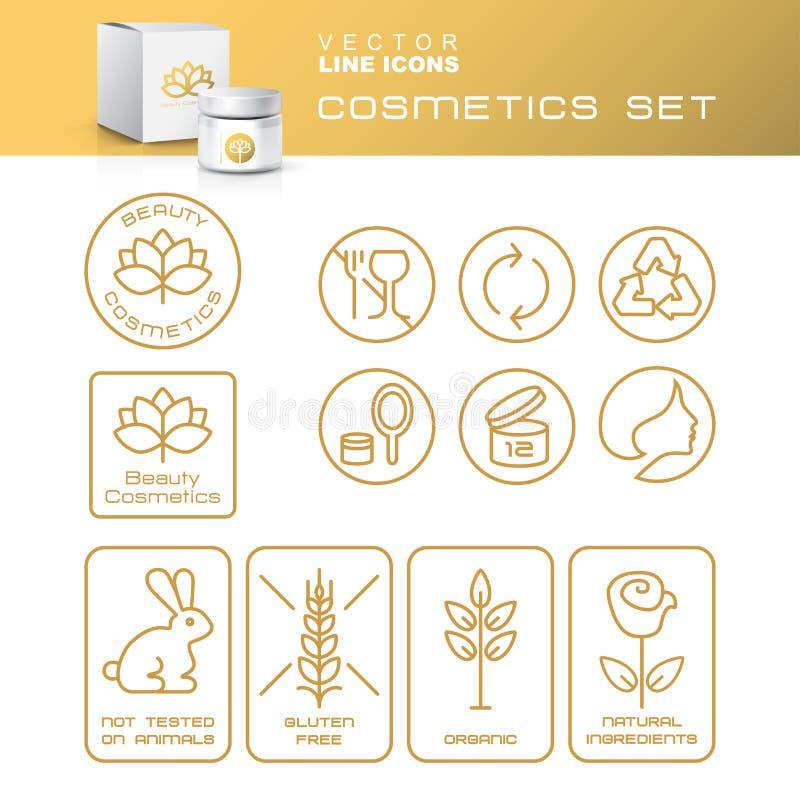 Línea de contorno fina moderna iconos fijados de los cosméticos naturales Packagin stock de ilustración