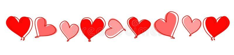 Línea de corazones/divisor stock de ilustración