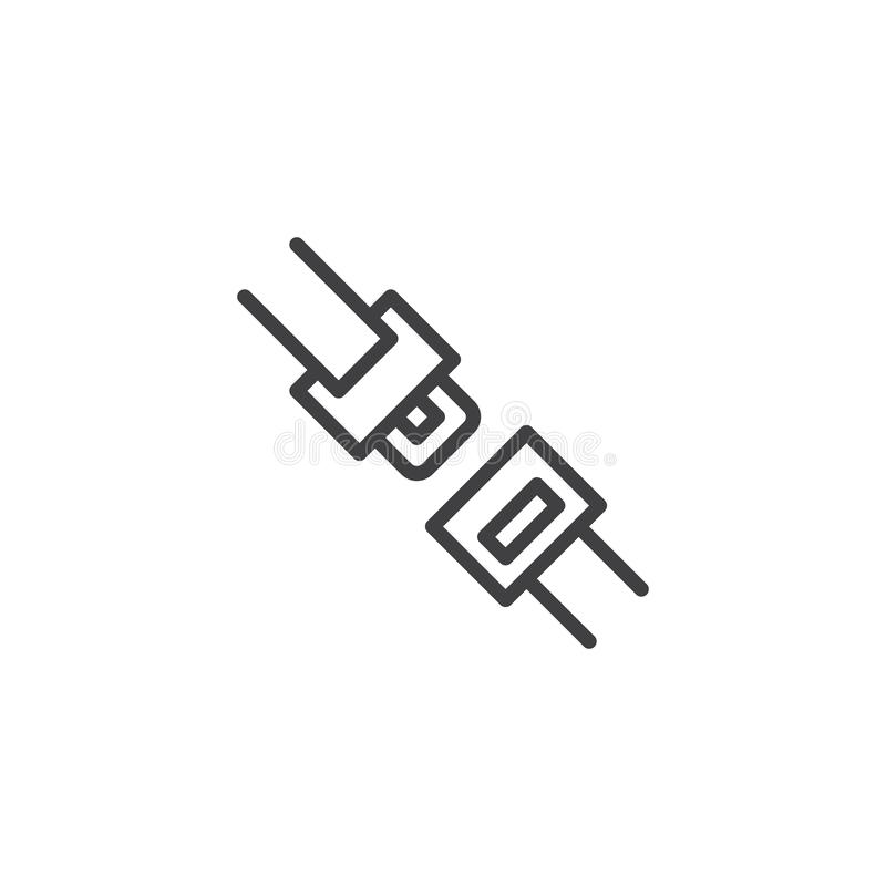 Línea de correa del asiento de carro icono ilustración del vector