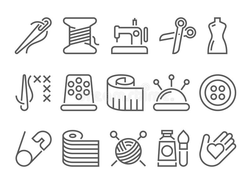 Línea de costura icono ilustración del vector