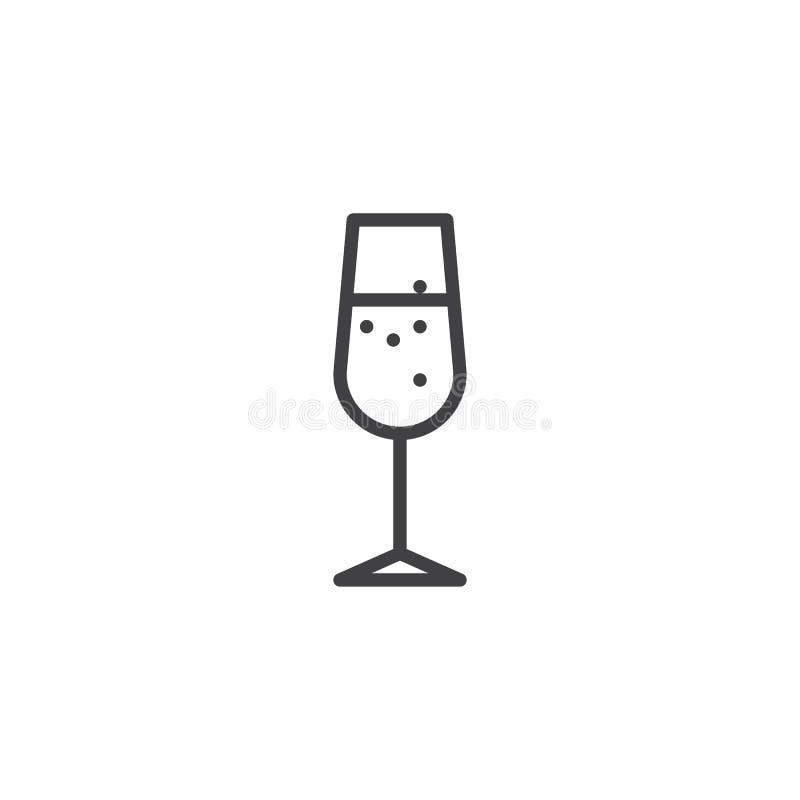Línea de cristal icono de Champán libre illustration