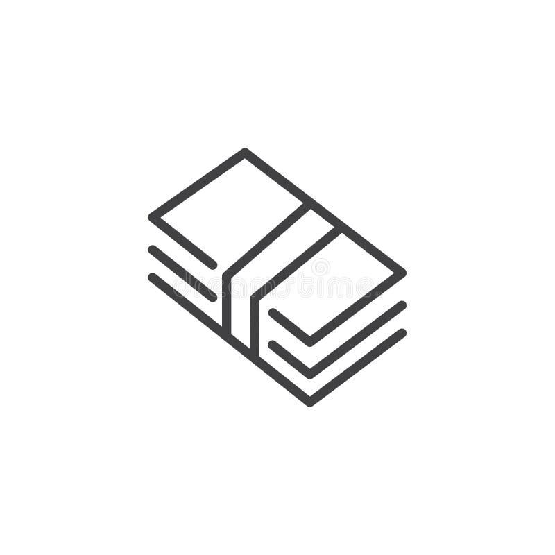 Línea de cuenta de dinero icono ilustración del vector