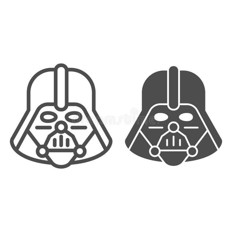 Línea de Darth Vader e icono del glyph Ejemplo del vector de Star Wars aislado en blanco Diseño del estilo del esquema de carácte ilustración del vector