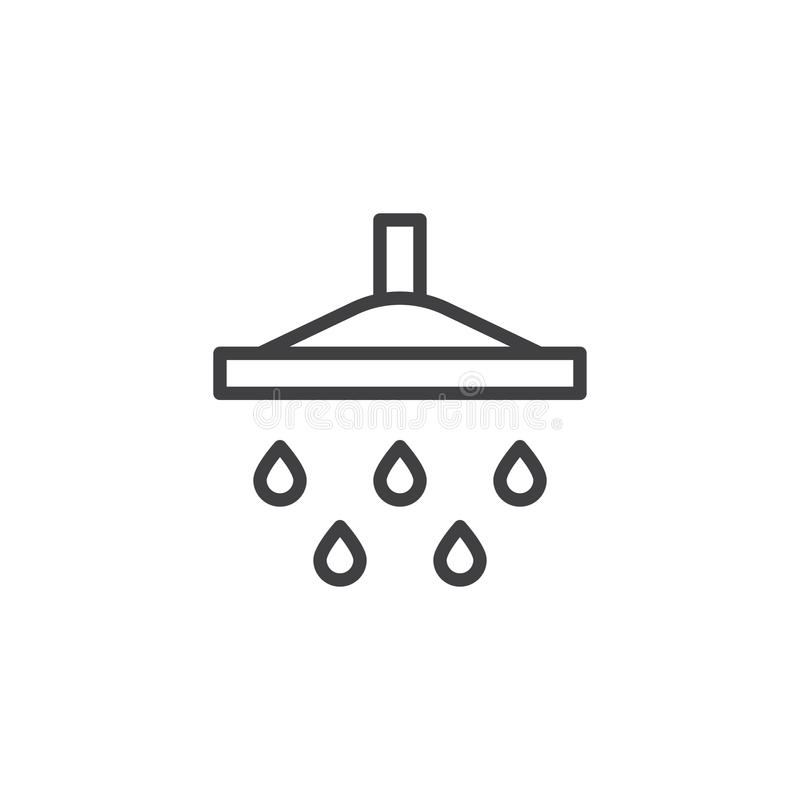 Línea de descenso de la ducha y del agua icono stock de ilustración