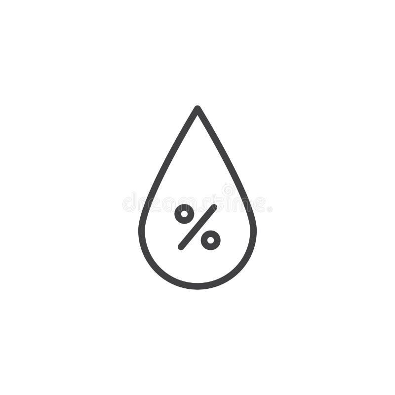 Línea de descenso de la humedad icono ilustración del vector
