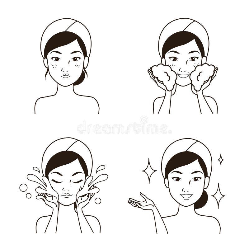 Línea de dibujo limpiamiento facial del paso de las mujeres ilustración del vector
