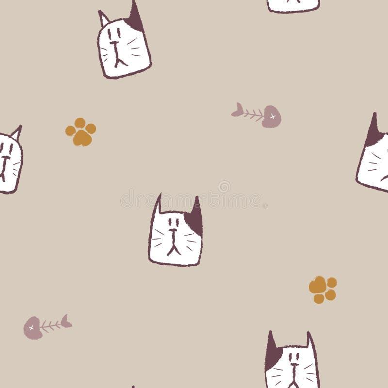 Línea de dibujo modelo animal del grunge del lápiz de la mano inconsútil del garabato de la repetición del gato del animal domést ilustración del vector