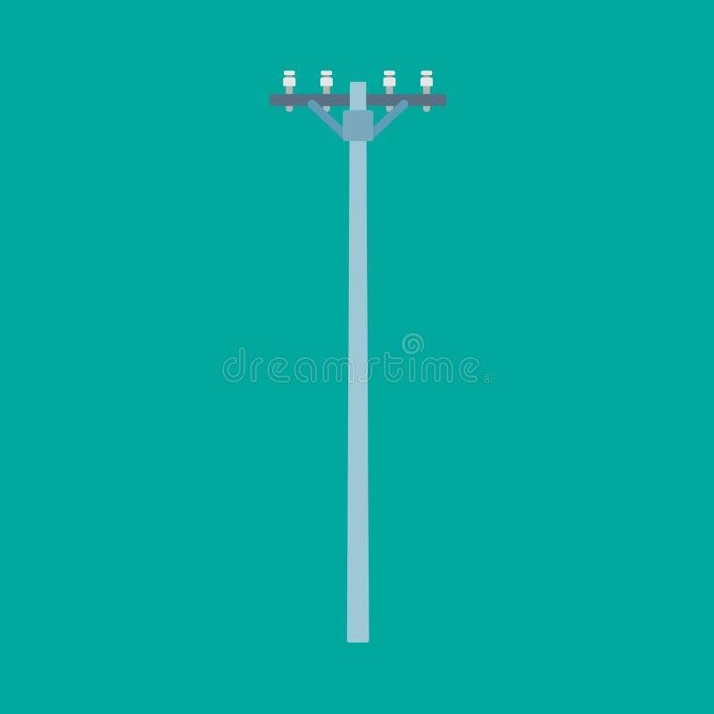 Línea de electricidad del cable de transmisión del icono del vector del polo de teléfono Alta energía del poste de la comunicació ilustración del vector