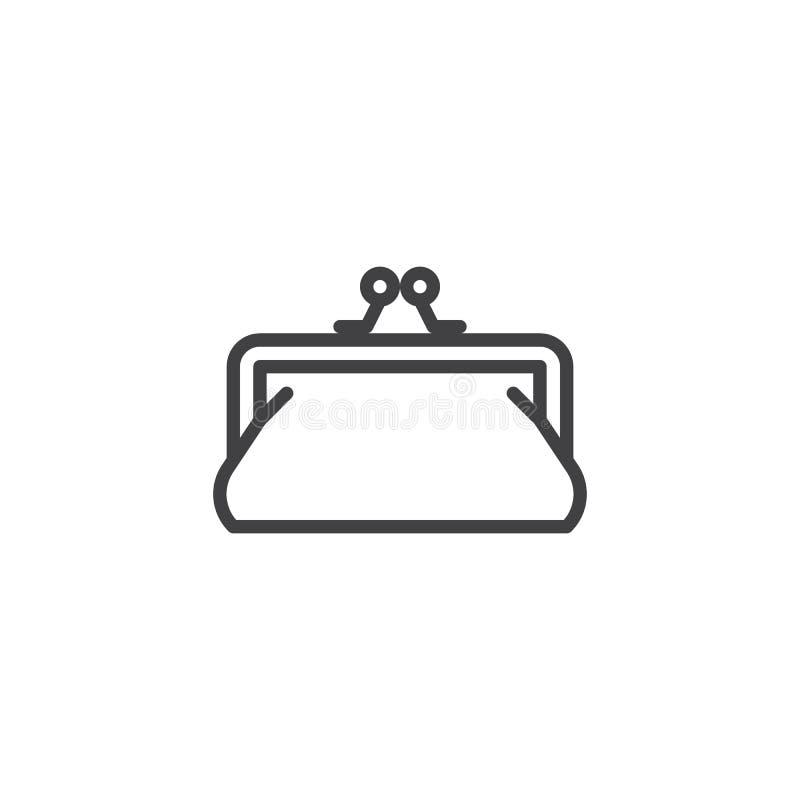Línea de embrague del monedero icono libre illustration