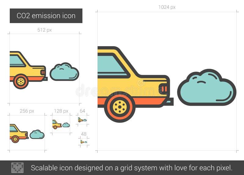 Línea de emisión de CO2 icono libre illustration