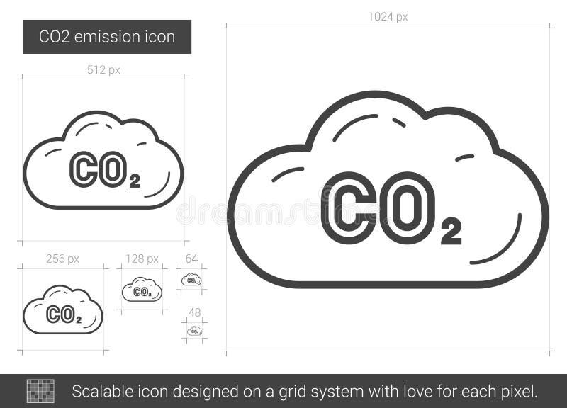 Línea de emisión de CO2 icono stock de ilustración