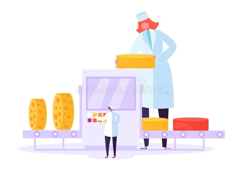 Línea de empaquetado de la fábrica de la producción del queso Comida de leche que hace proceso del abrigo de la fabricación Anunc stock de ilustración