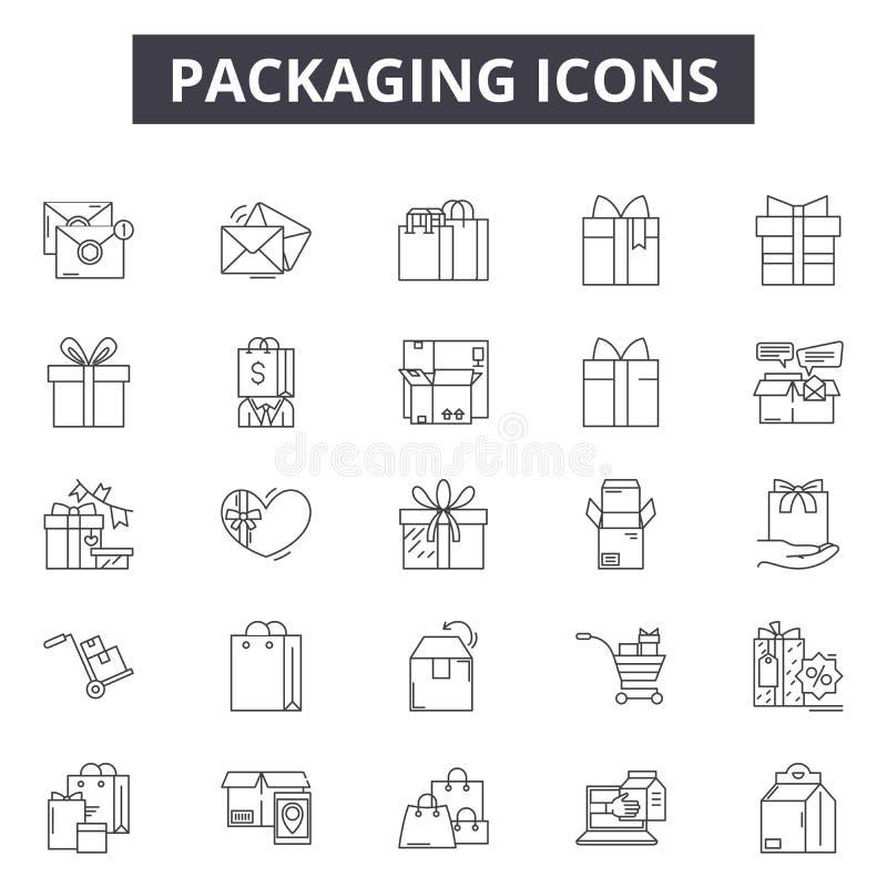 Línea de envasado iconos, muestras, sistema del vector, concepto del ejemplo del esquema libre illustration