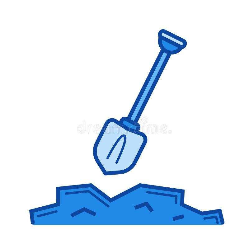 Línea de excavación icono stock de ilustración