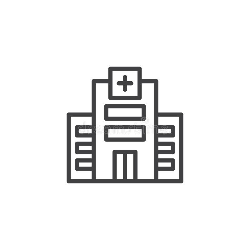 Línea de fachada del hospital icono ilustración del vector