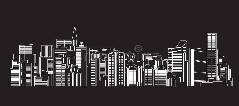 Línea de fachada del paisaje urbano diseño del ejemplo del vector del arte ilustración del vector