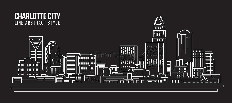 Línea de fachada del paisaje urbano diseño del ejemplo del vector del arte - ciudad de Charlotte libre illustration