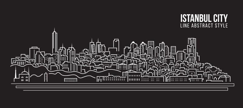 Línea de fachada del paisaje urbano diseño del ejemplo del vector del arte - ciudad de Estambul stock de ilustración