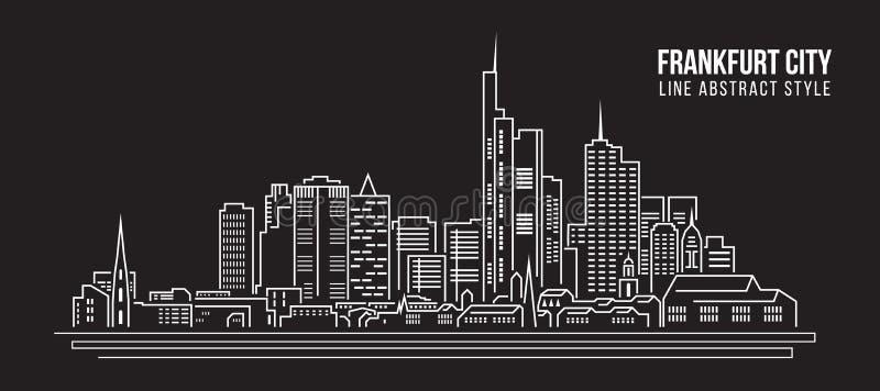 Línea de fachada del paisaje urbano diseño del ejemplo del vector del arte - ciudad de Francfort stock de ilustración