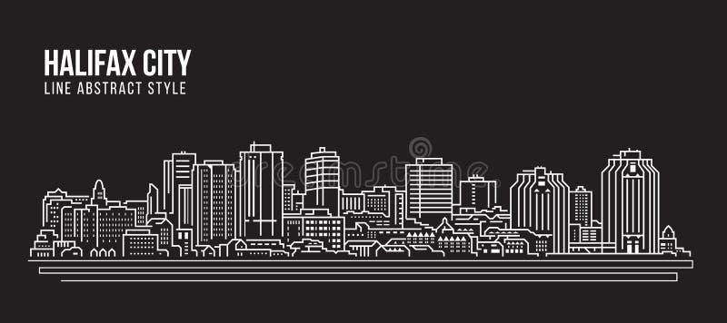 Línea de fachada del paisaje urbano diseño del ejemplo del vector del arte - ciudad de Halifax stock de ilustración