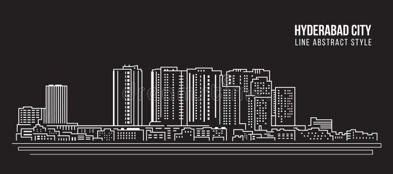 Línea de fachada del paisaje urbano diseño del ejemplo del vector del arte - ciudad de Hyderabad ilustración del vector