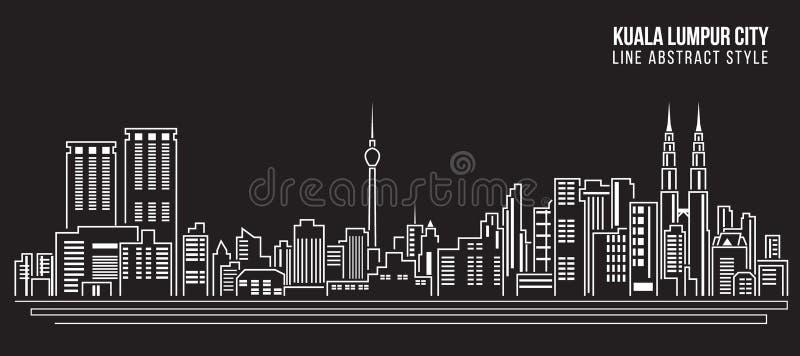 Línea de fachada del paisaje urbano diseño del ejemplo del vector del arte - ciudad de Kuala Lumpur stock de ilustración