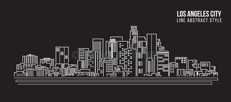 Línea de fachada del paisaje urbano diseño del ejemplo del vector del arte - ciudad de Los Ángeles stock de ilustración