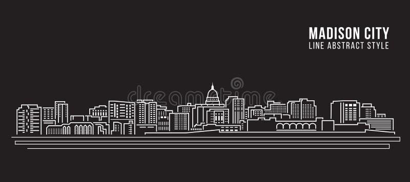 Línea de fachada del paisaje urbano diseño del ejemplo del vector del arte - ciudad de Madison ilustración del vector