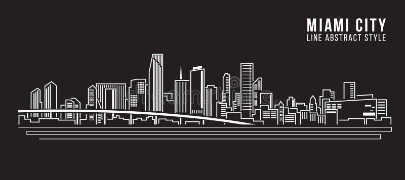 Línea de fachada del paisaje urbano diseño del ejemplo del vector del arte - ciudad de Miami stock de ilustración