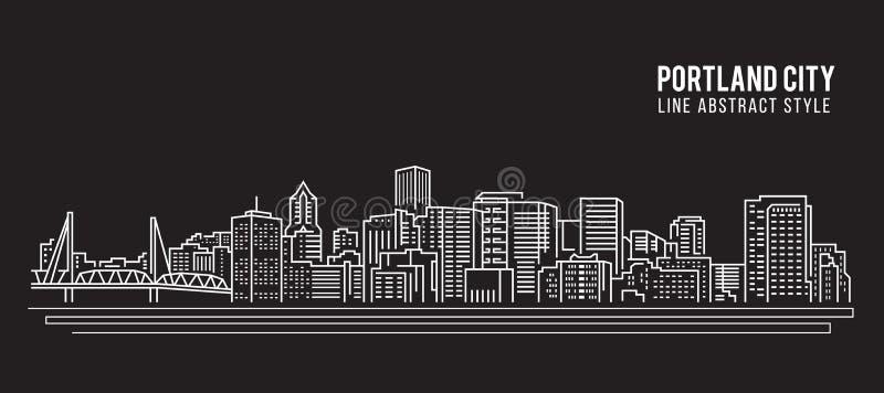 Línea de fachada del paisaje urbano diseño del ejemplo del vector del arte - ciudad de Portland ilustración del vector