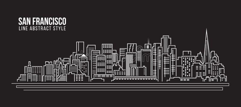 Línea de fachada del paisaje urbano diseño del ejemplo del vector del arte - ciudad de San Francisco stock de ilustración
