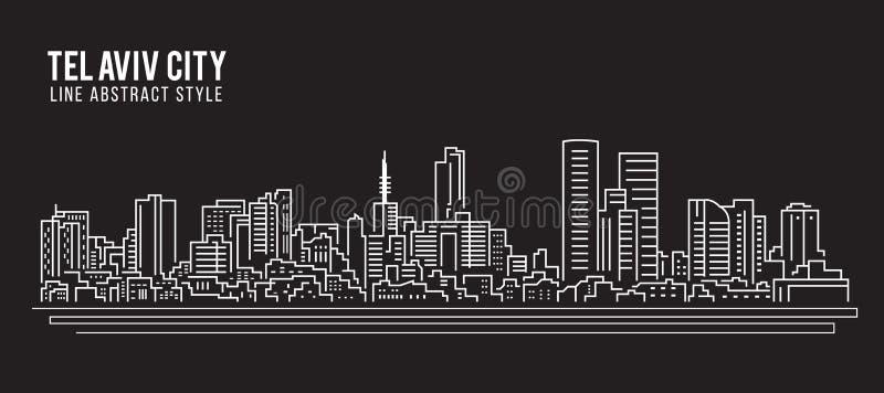 Línea de fachada del paisaje urbano diseño del ejemplo del vector del arte - ciudad de Tel Aviv stock de ilustración