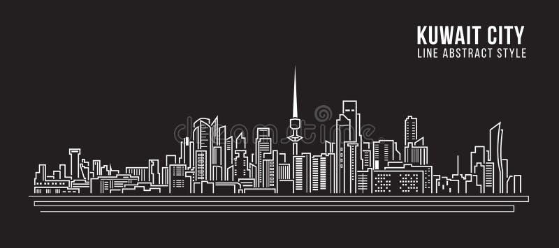 Línea de fachada del paisaje urbano diseño del ejemplo del vector del arte - la ciudad de Kuwait libre illustration