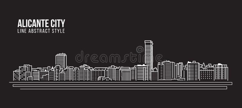 Línea de fachada del paisaje urbano diseño del ejemplo del vector del arte - ciudad de Alicante stock de ilustración