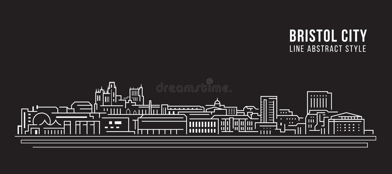 Línea de fachada del paisaje urbano diseño del ejemplo del vector del arte - ciudad de Bristol ilustración del vector