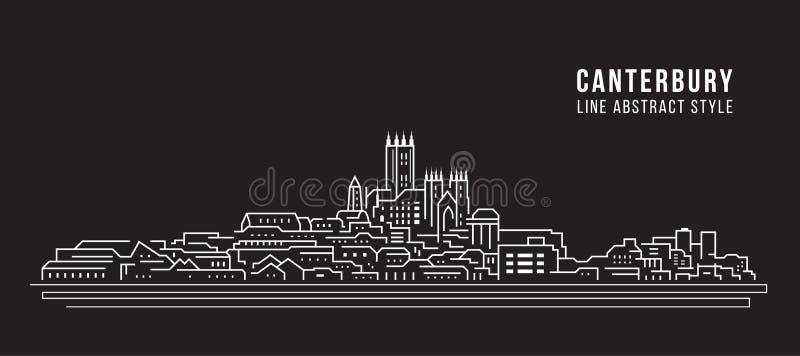 Línea de fachada del paisaje urbano diseño del ejemplo del vector del arte - ciudad de Cantorbery stock de ilustración