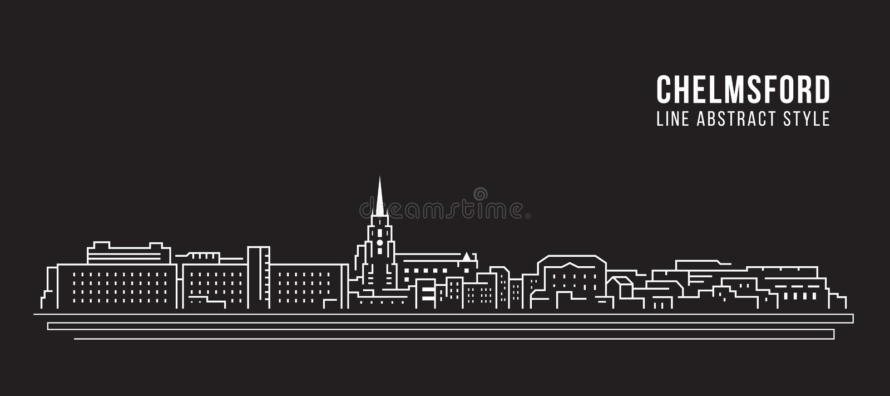 Línea de fachada del paisaje urbano diseño del ejemplo del vector del arte - ciudad de Chelmsford ilustración del vector
