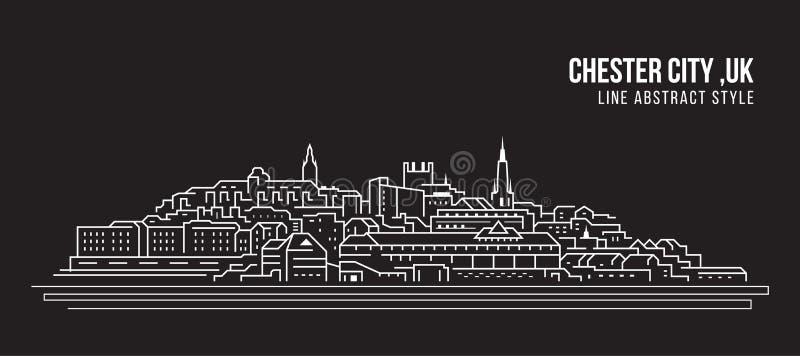Línea de fachada del paisaje urbano diseño del ejemplo del vector del arte - ciudad de Chester, Reino Unido stock de ilustración
