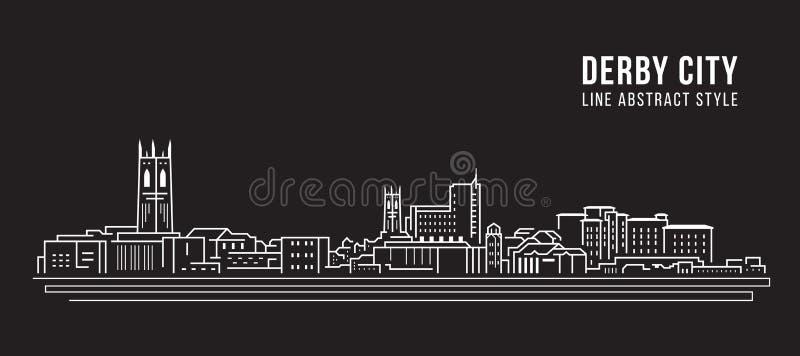 Línea de fachada del paisaje urbano diseño del ejemplo del vector del arte - ciudad de derby libre illustration