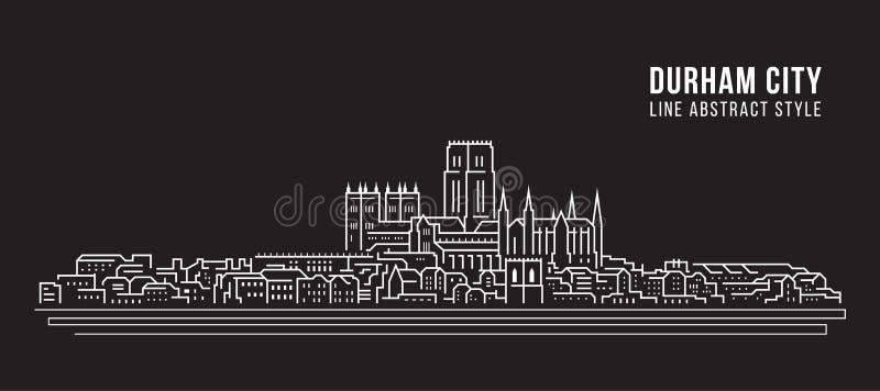 Línea de fachada del paisaje urbano diseño del ejemplo del vector del arte - ciudad de Durham, Reino Unido ilustración del vector
