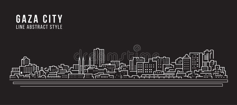 Línea de fachada del paisaje urbano diseño del ejemplo del vector del arte - ciudad de Gaza stock de ilustración