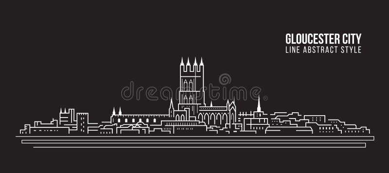 Línea de fachada del paisaje urbano diseño del ejemplo del vector del arte - ciudad de Gloucester, Reino Unido stock de ilustración
