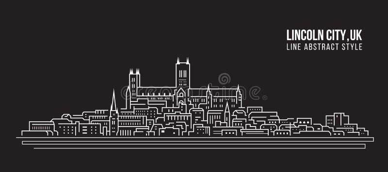 Línea de fachada del paisaje urbano diseño del ejemplo del vector del arte - ciudad de Lincoln, Reino Unido ilustración del vector