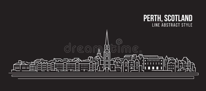 Línea de fachada del paisaje urbano diseño del ejemplo del vector del arte - ciudad de Perth, Escocia stock de ilustración