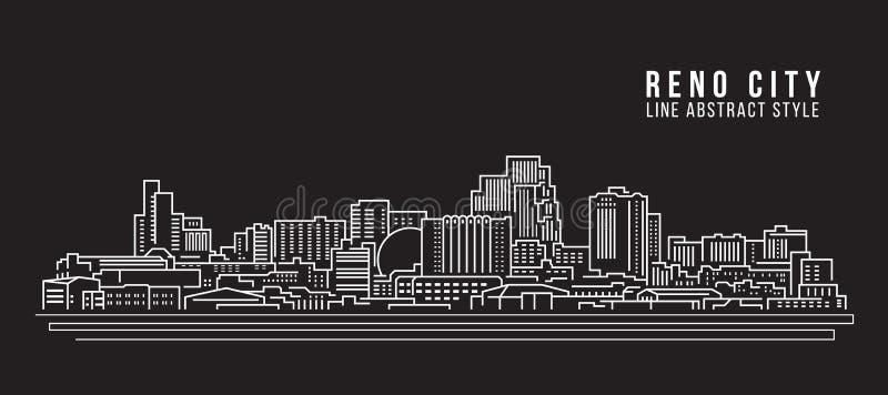 Línea de fachada del paisaje urbano diseño del ejemplo del vector del arte - ciudad de Reno stock de ilustración