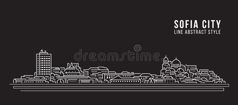 Línea de fachada del paisaje urbano diseño del ejemplo del vector del arte - ciudad de Sofía libre illustration