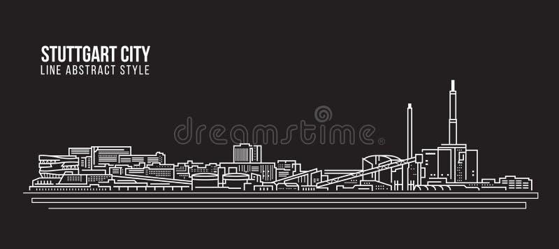Línea de fachada del paisaje urbano diseño del ejemplo del vector del arte - ciudad de Stuttgart stock de ilustración