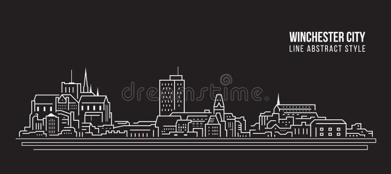 L?nea de fachada del paisaje urbano dise?o del ejemplo del vector del arte - ciudad de Winchester ilustración del vector